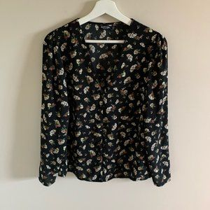 Nasty Gal Black Floral Long Sleeve Blouse Size 6